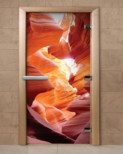 Дверь для бани и сауны с фотопечатью