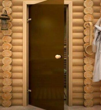 Классическая стеклянная дверь для сауны