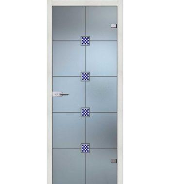 Стеклянная межкомнатная дверь с гравировкой
