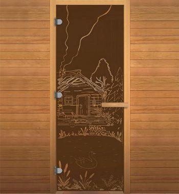 Стеклянная дверь в сауну с рисунком