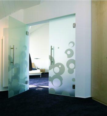 Распашная стеклянная дверь с рисунком