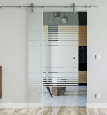 Одностворчатая стеклянная раздвижная дверь с закрытым механизмом