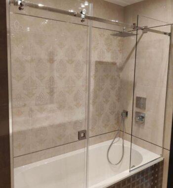 Проект «Экран на всю ширину ванны из бельгийского закаленного стекла AGC 8 мм»