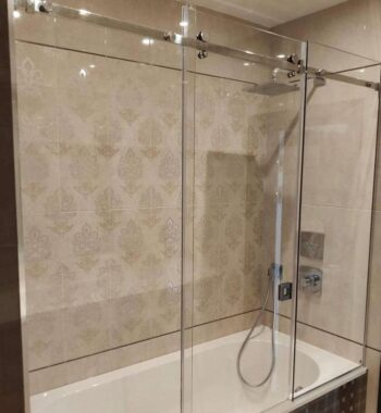 Проект «Стеклянное ограждение (шторка) на ванну из бельгийского закаленного стекла AGC 8 мм с раздвижной системой»